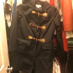 Michael Kors toggle rain coat jacket navy